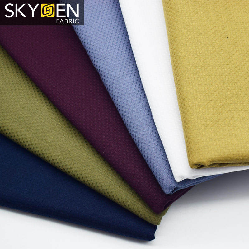 Wholesale Woven Textile 100 Cotton Solid Dobby Shirting Fabric
