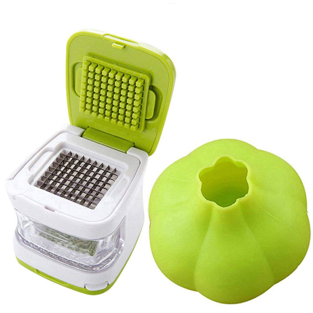 Ginger Garlic Press Cube and Cutter Mincer Chopper Crusher Slicer Peeler Grater Twister Dicer Green Tool Set