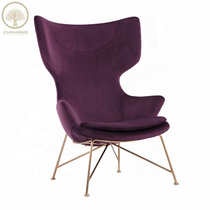hot sale velvet armchair for lounge chair wing chair