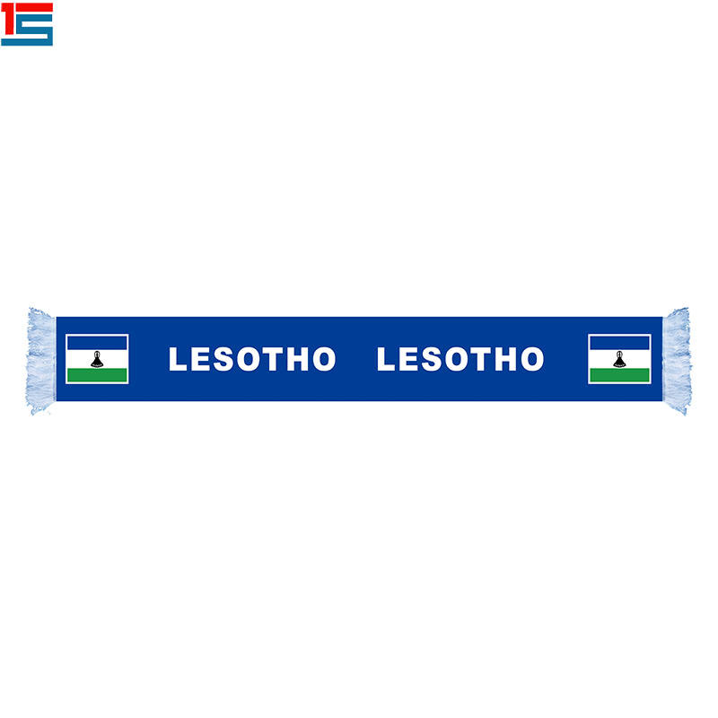 Sublimation Imprimé Équipe Nationale De Football Stade Ventilateurs Acclamer Football Sport Écharpe LESOTHO National logo écharpe