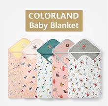 COLORLAND cotton baby swaddle wrap blanket bath towel baby blanket with hood