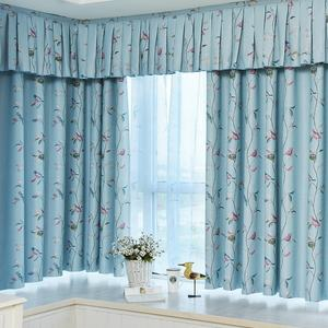 High Quality New Design Durable Flower Birds Printed Cheap Window Curtains With Valance Made In China Curtain Blackout Roll
