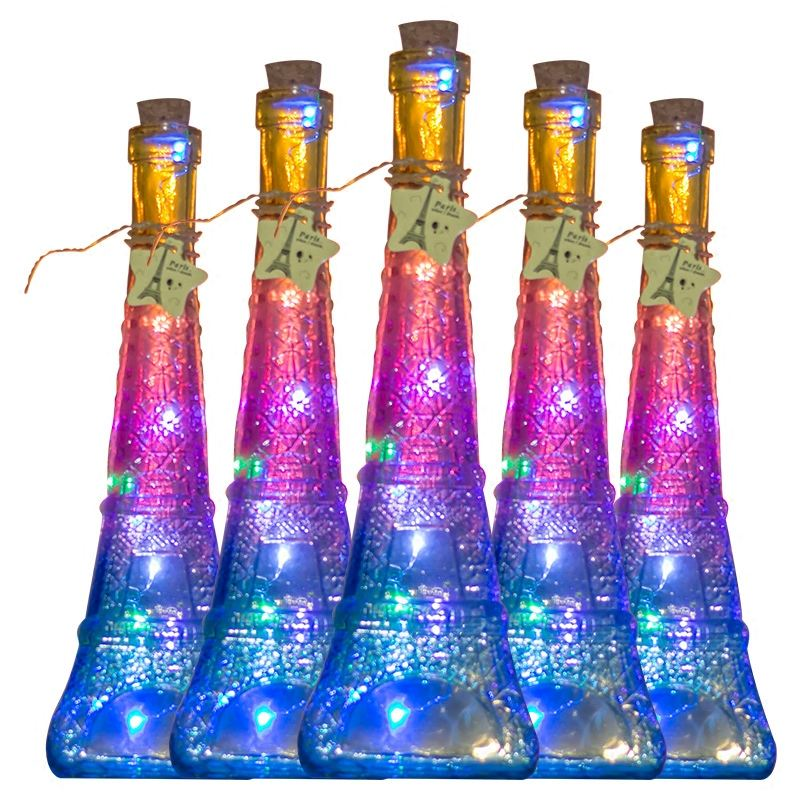 Christmas led Eiffel Tower vase shaped Glass Bottle with Cork for gift