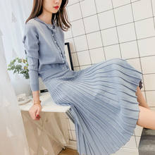 Fashionable Young girls pearl cardigan and long skirt knit twin set