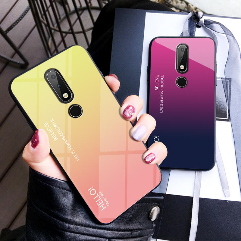 Simple Gradient Tempered Glass Hard Case With Soft Frame Cover For Nokia X6 7 Plus 8 3.1 Plus 7.1 X7 3.1 Plus 9 Phone Coque Capa