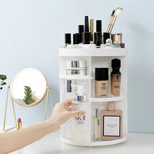 Cosmetic Organizer, 360 Degree Rotating Adjustable makeup Organizer Display Case with 7 Adjustable Layers Large Capacity