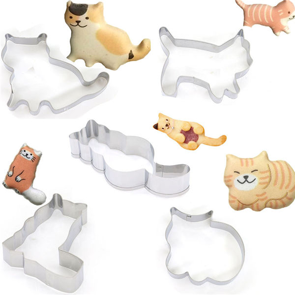 Stainless Steel Anime Cookie Mold Steel Biscuit Molds Animal Cat Shaped Cookie Cutter