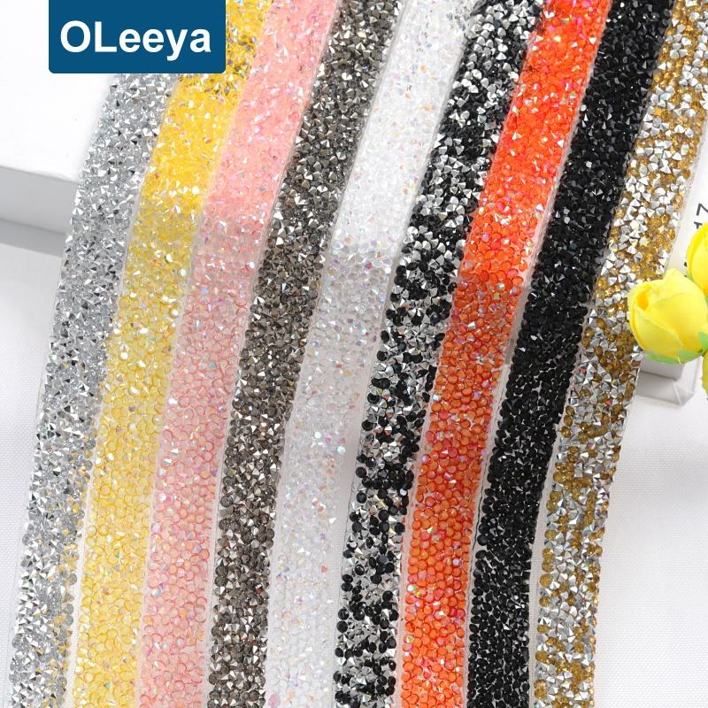Wholesale Glitter Hot Fix Trimming Ribbon Resin Iron On Sheet Hotfix Plastic Rhinestones Strips For Clothing