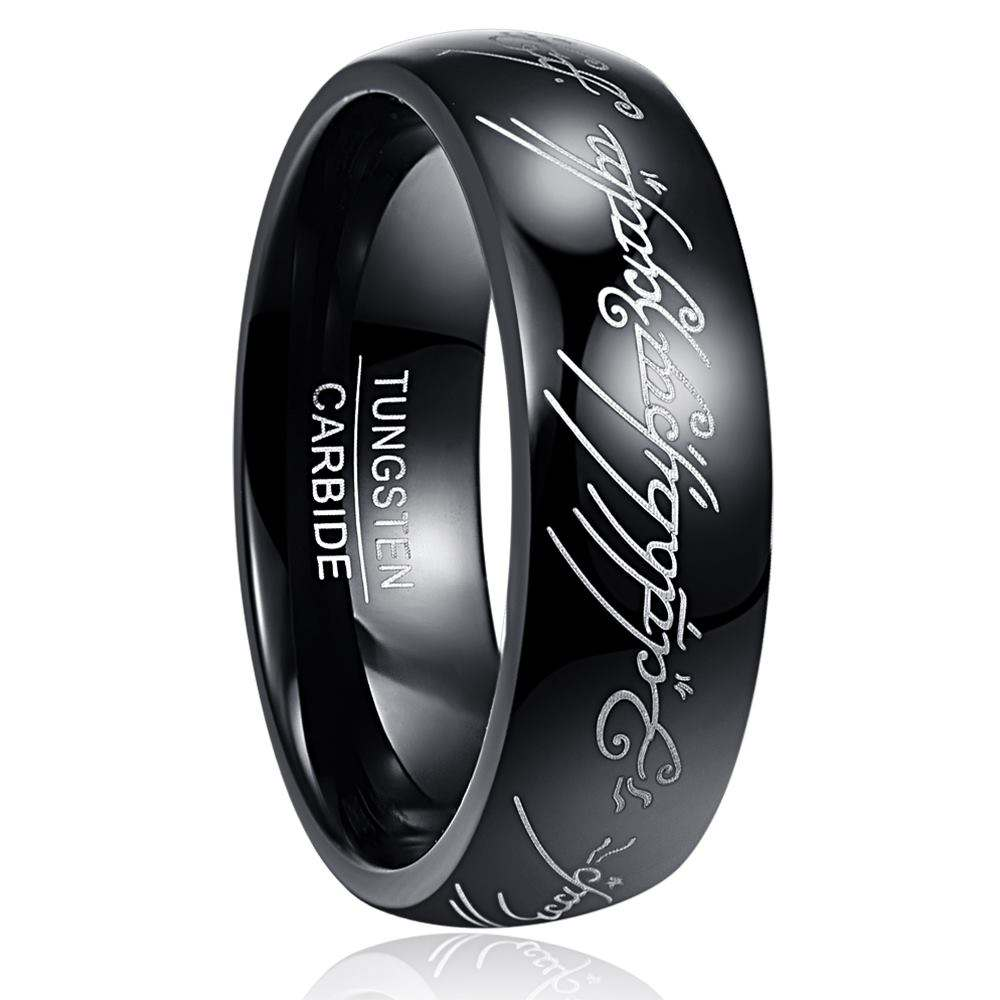 8MM The Lord of The Rings High Polish Black Plated Tungsten Carbide Ring Men's Ring