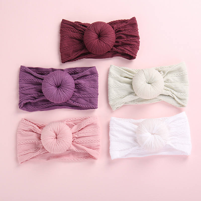 In Stock 27 Colors Baby Girls Donut Nylon Headbands Elastic Babies Donut Cable Knit Width Nylon Hairband Turban Headwraps