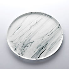 White Restaurant Ceramic Plate Marble, White Restaurant Ceramic Marble Black Plate