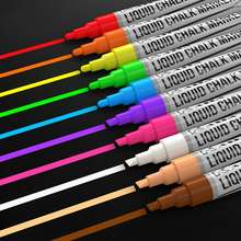 Liquid Chalk Markers Set of 8 Metallic Colors, 8 Replaceable Chisel Tips