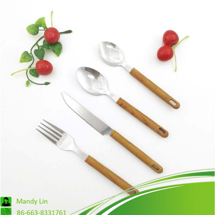 Promotive High End Cutlery Set with with Bamboo Handle Cutlery