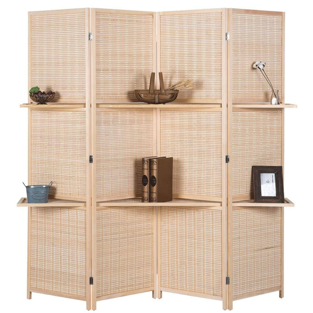 6 ft Tall Beige Woven Bamboo Room Divider Folding Privacy Screens Partition Wall with 2 Display Shelves