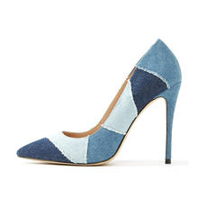 Colorful denim design pointed toe ladies high heel pumps shoes