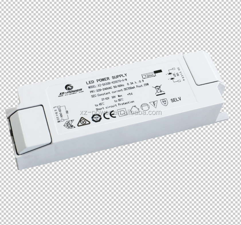 ENEC CE 30w 35w 40W dc 27v-42V constant current 700ma-1050ma external press-in terminal led power supply