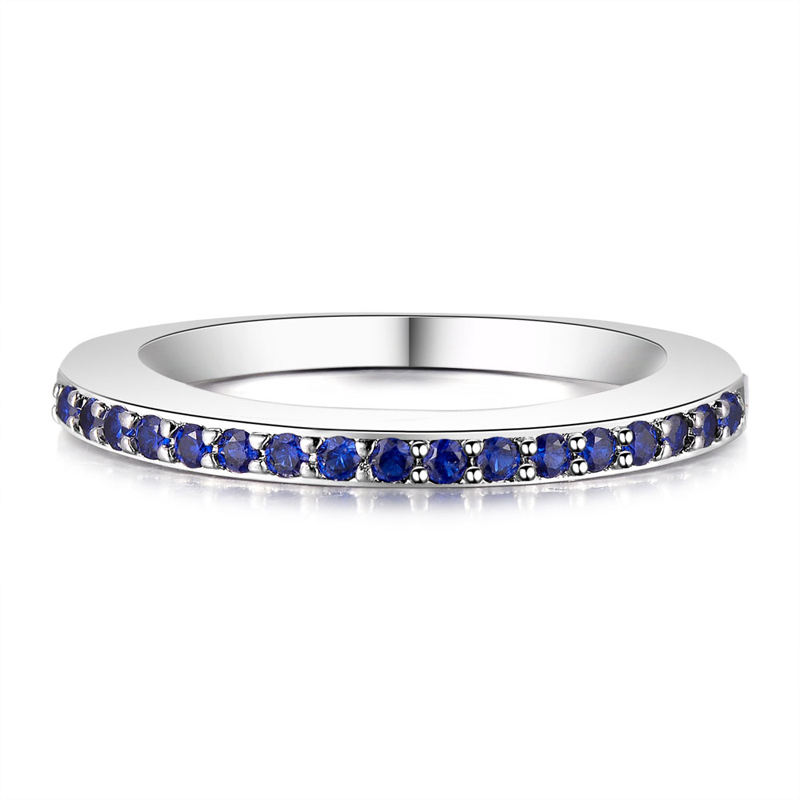 New Best Sell Product Natural Genuine Blue Sapphire and Diamond Half Eternity Bands Ring R234