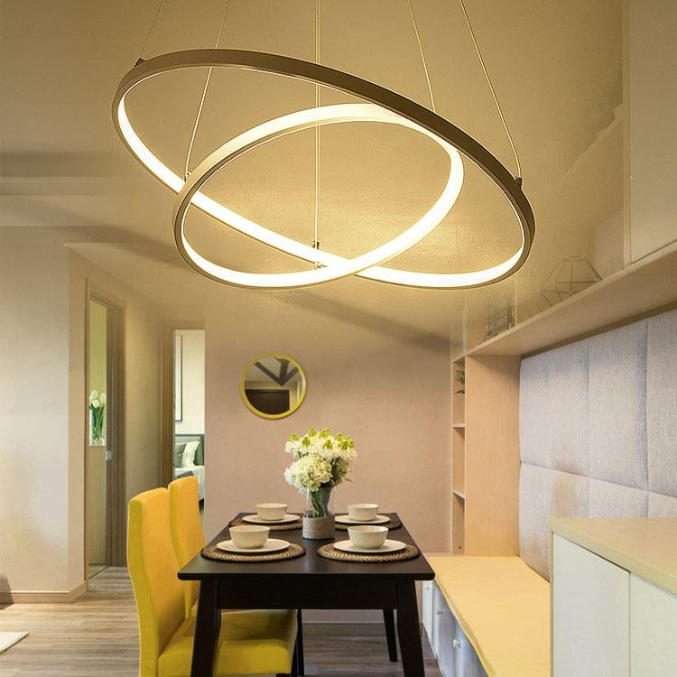 Zhongshan factory supplier modern light fixtures big led round gold chandelier pendant lights