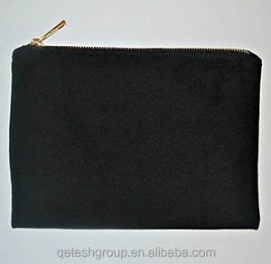 Wholesale Custom Zipper Blank Canvas Cosmetic Bag With Lining Inside Makeup Bag