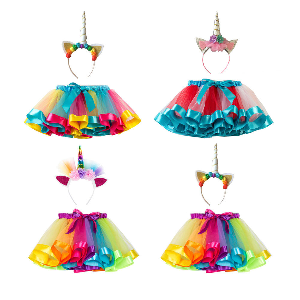 Layered Rainbow Tutu Skirts Kid Girl Mini Skirt With Unicorn Horn Headband
