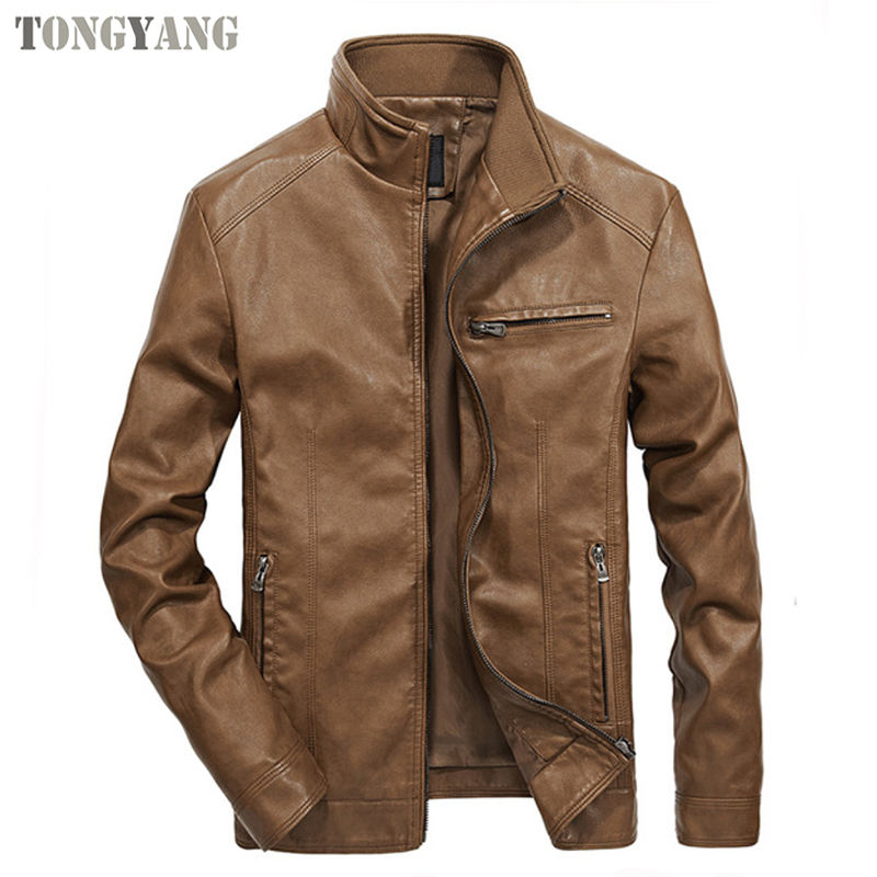 TONGYANG 2019 High Quality PU Leather Jackets Men Spring Autumn Solid Stand Collar Fashion Men Jacket