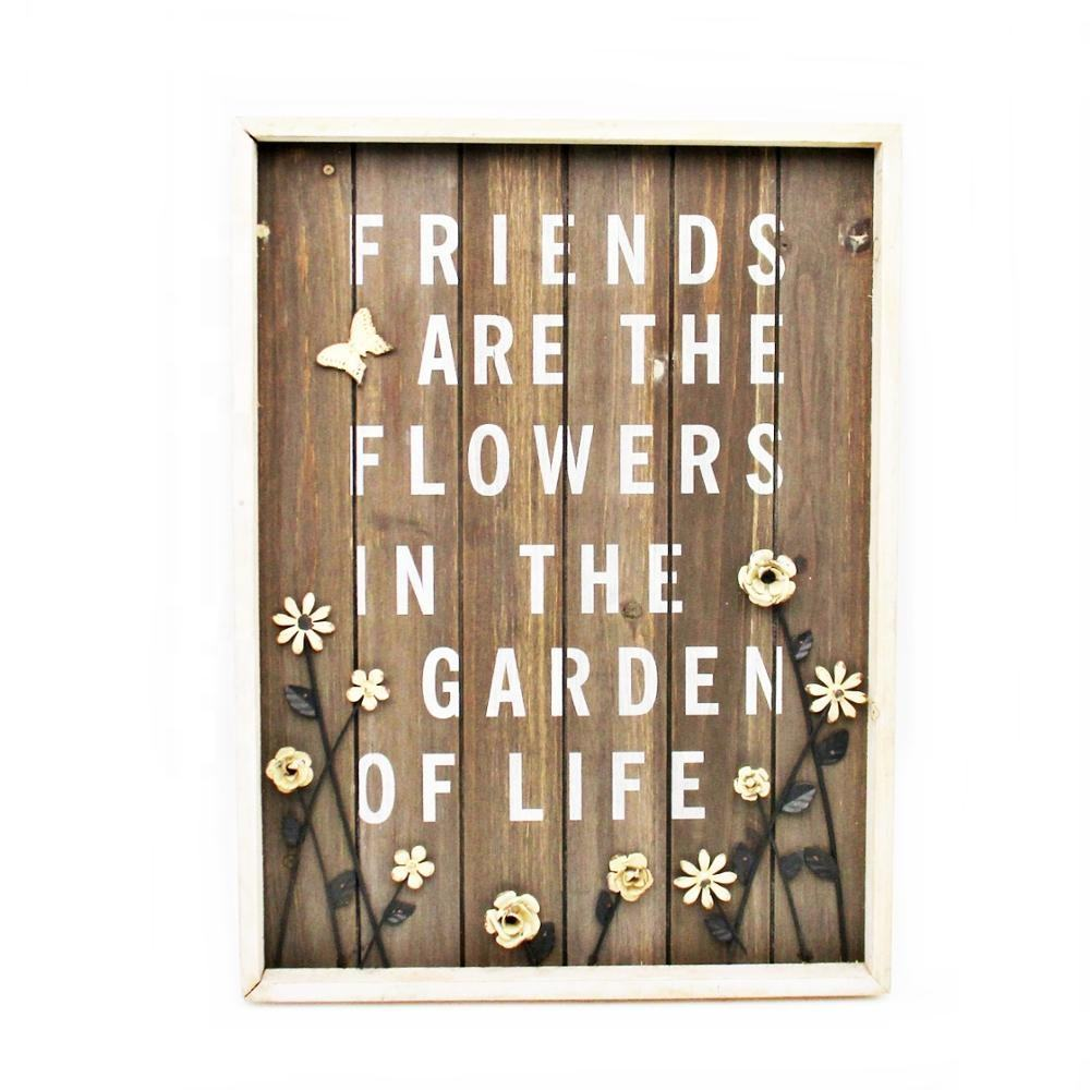 2019 Wholesale Rustic Vintage Wooden Wall Hanging Outdoor Indoor Decoration with Sign and Sayings for Home Garden Decorative