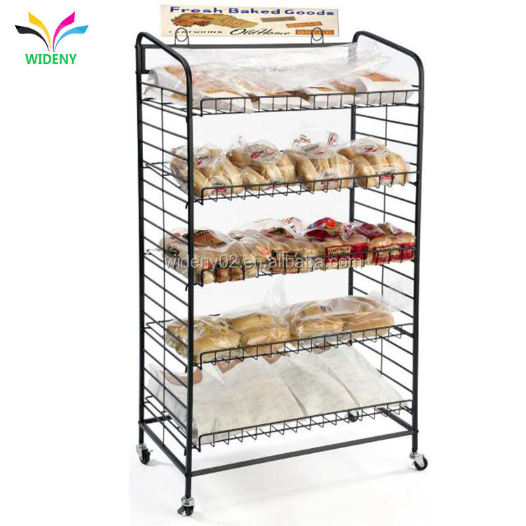 Wideny supermarket grocery store stackable flooring hanging metal wire candy cookie food display stand
