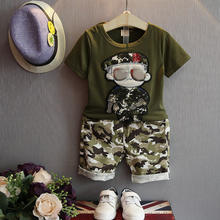 Children Boy Clothes Sets Kids 2pcs Short Sleeves T-Shirt Toddler Suits Camouflage Shorts Clothing Suits