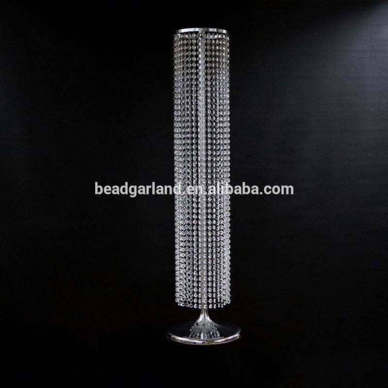 Wholesale Wedding Crystal Walkway Flower Stand Pillar 120 cm Wedding Table Top Chandelier Centerpieces