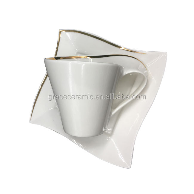 Custom Plain White Unique Shape Porcelain Espresso Cup And Saucer