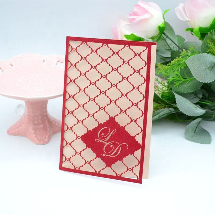 Customized 250g Pearl Paper Laser Cut invitations Card For Wedding