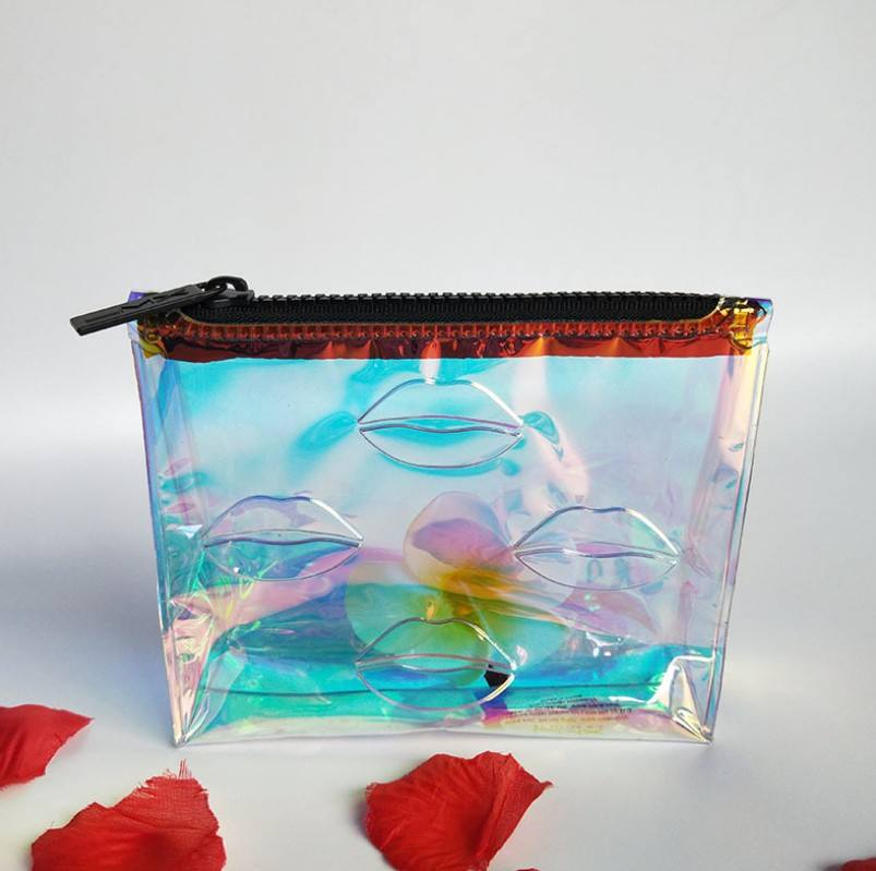 Custom Holographic PVC Ziplock Bag for Cosmetic Package Pouch