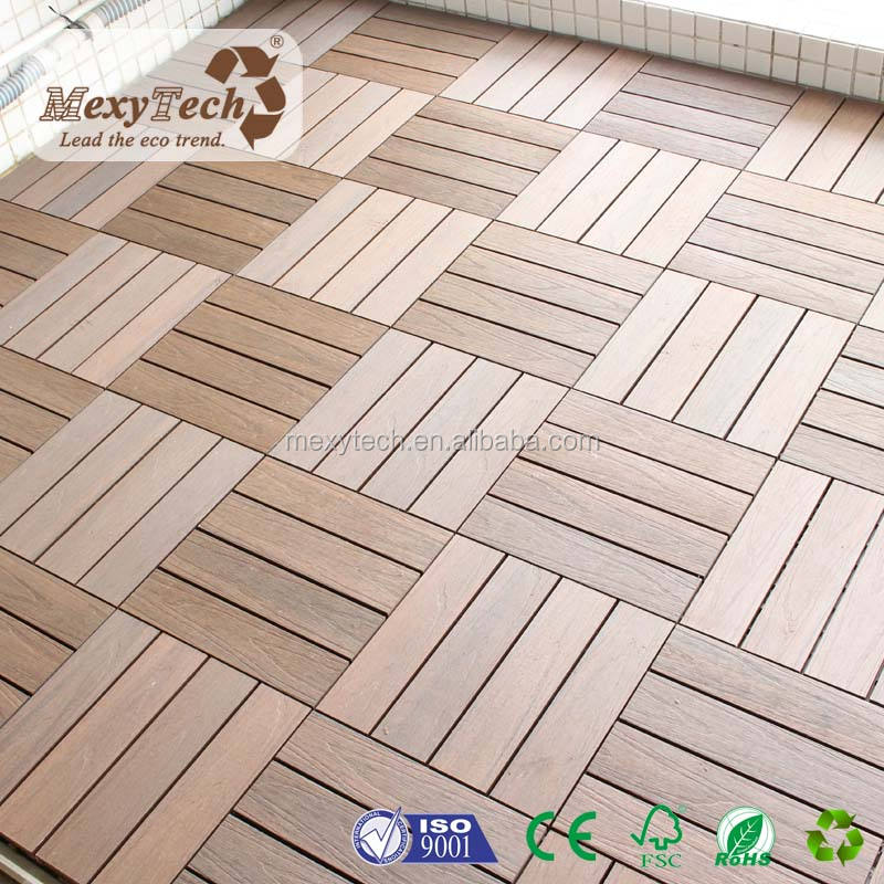 Guangzhou patio wpc composite interlocking decking tile with 300X300mm