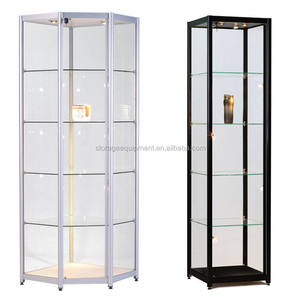 Movable glass furniture corner showcase