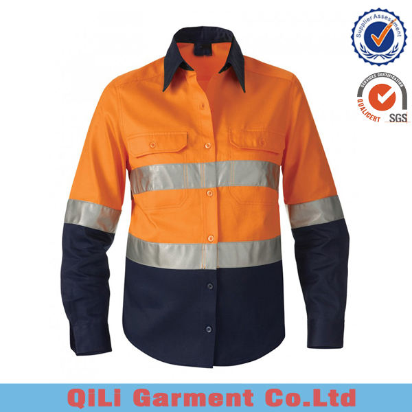 Mens Short Long Sleeve Orange Fluoreszierend Gelb Hallo Vis Reflektierende Uniform Arbeits Shirts
