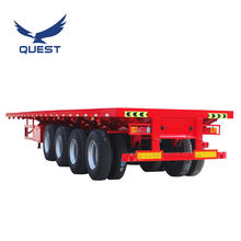 QUEST 4 axle 80ton 40 ft 45ft flatbed flat bed container semi trailer used truck trailer for Ghana