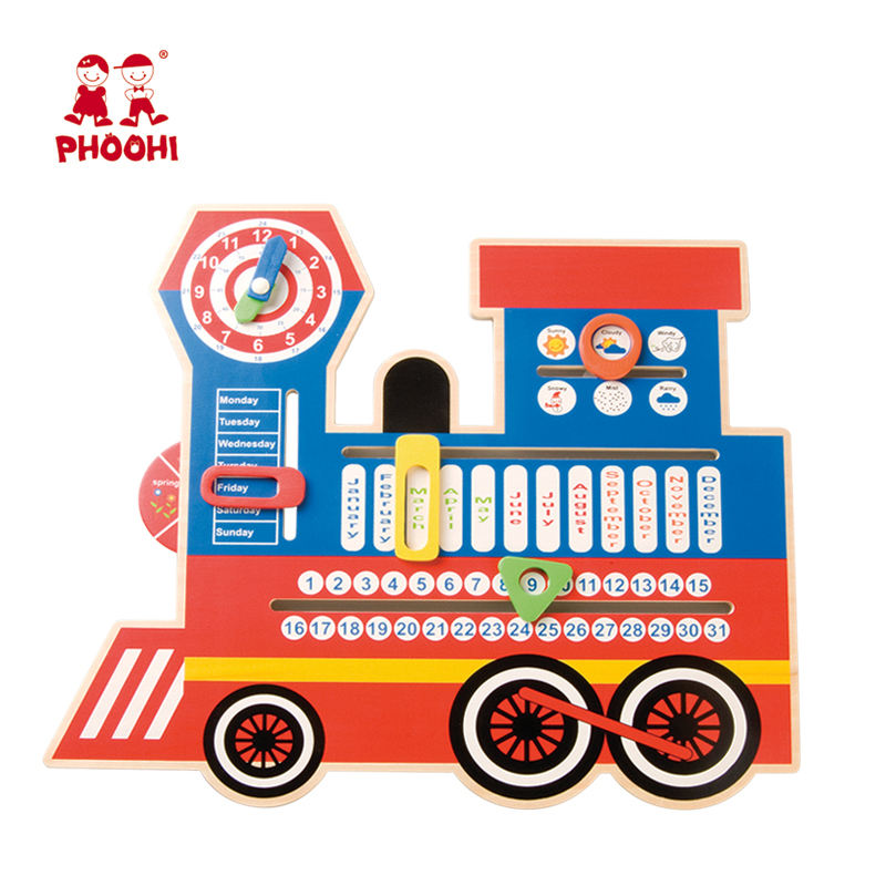 Multifunción 6 en 1 colgante niños fecha reloj de tiempo temporada niños tren Calendario de madera juguete