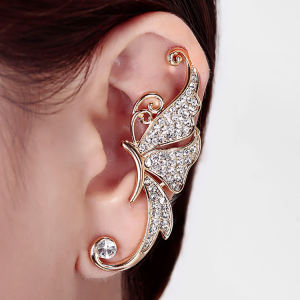 Hot New Fashion Retro Punk Crystal Leaf Flower Ear Cuff Earring Wrap Clip On for Left Ear Women Earrings