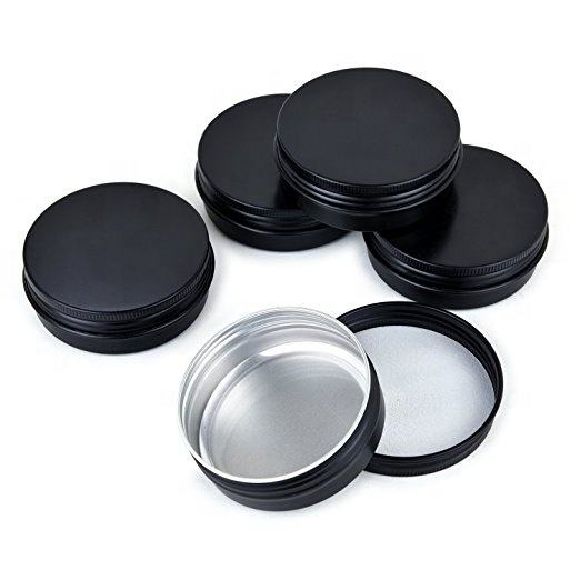 120ml Luxury Black Round Aluminum Tin Cans 4OZ Round Metal Tin Container Screw Top Steel Tin Cans Cosmetic Sample Containers Can