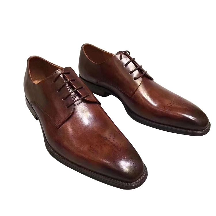 China shoe factory men shoes cheap price breathable men casual brown leather mens dress shoes