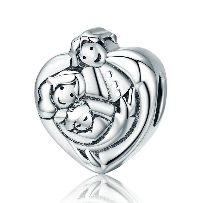 Family Charm 925 Sterling Silver Love Heart Mum Dad Baby Charm bead