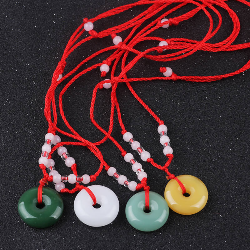 Traditional Jade Peace Buckle Pendant Round Lucky red rope Beaded Necklace for men women Children