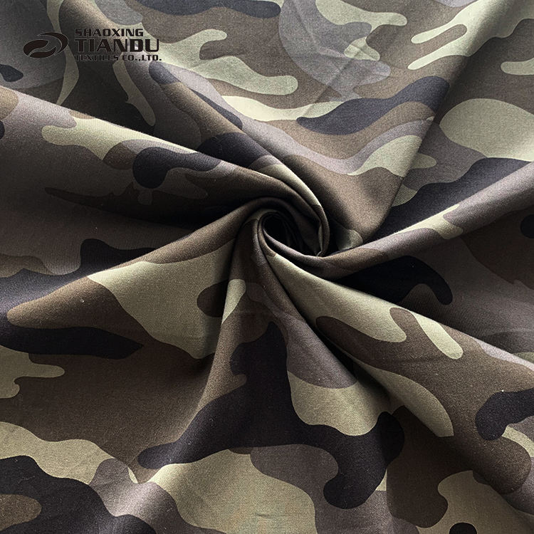 Shaoxing textile camouflage pattern digital printing 100% cotton poplin fabric for clothing