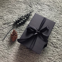 hardcover black color retail gift boxes with ribbon