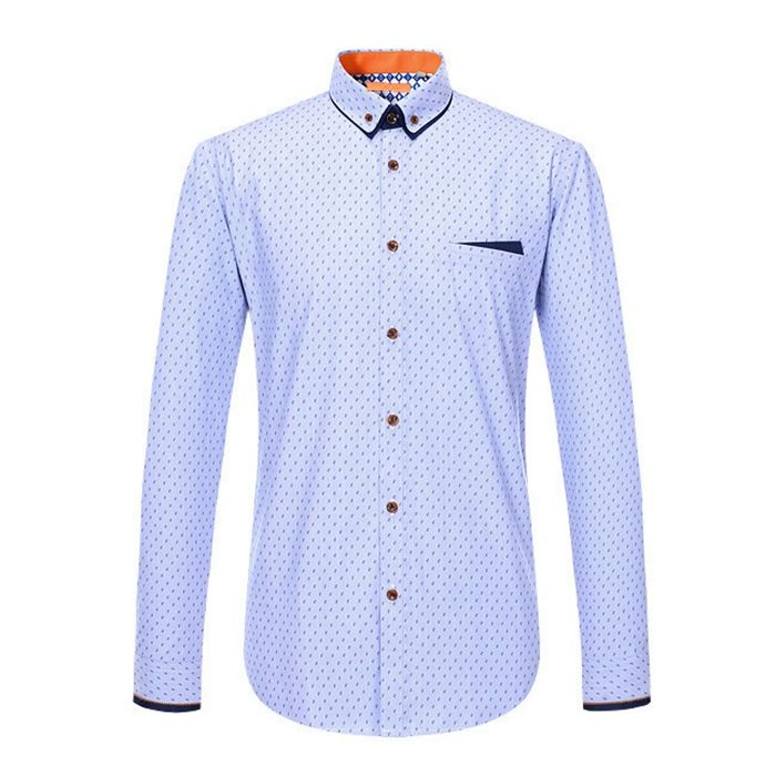 Latest design formal casual business slim office shirt male cotton blue white men dress shirt italian style OEM