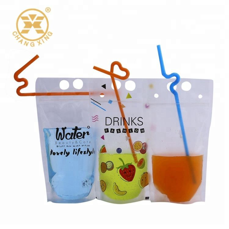 Zipper soft Juice drink pouch bag with straw