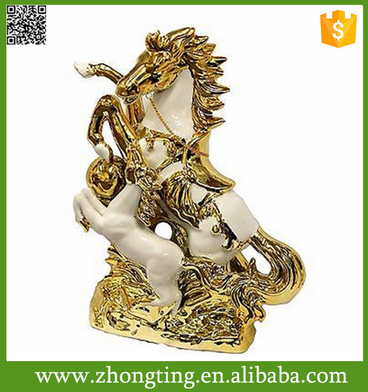 Fashion Modern home interion decoration Jumping Galloping ceramic horse gold sculpture
