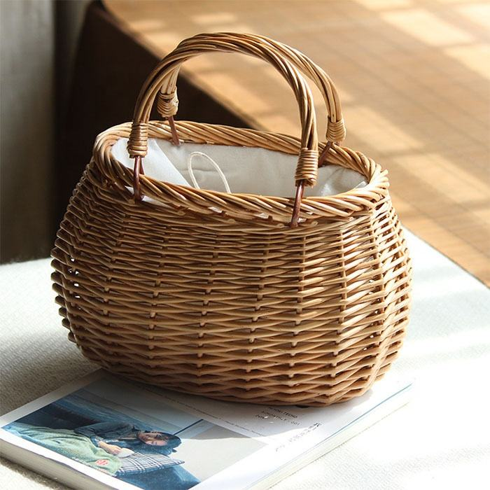 Rattan Crochet Handmade Fringed Small Bamboo Basket Wicker Ladies Bag