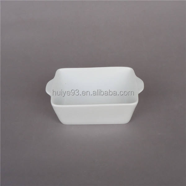 White color porcelain mini loaf dish loaf pan with handle