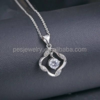 PES fashion jewelry! Four Leaf Clover Hanging Sparkling Pendant Necklace (PES3-1391)